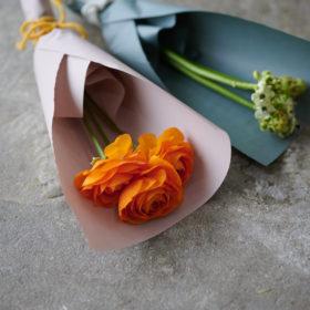一種類の花でまとめる小さな花束(オーニソガラム、ラナンキュラス)